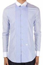 Dsquared2 Hombre Azul Multicolor Estampado Algodón Camisa Corte Slim Talla 52/XL
