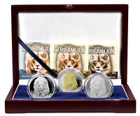 2017 Chad African Lion 1 oz. Silver 3-Coin Set in Display Box W/COAs SKU47486