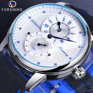 FORSINING Men's Wrist Watch Automatic Piaget Winding Silicone Bracelet