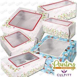 """Christmas Cake Box - Festive Holly Design Windowed Cake Boxes -6"""", 8"""", 10"""""""
