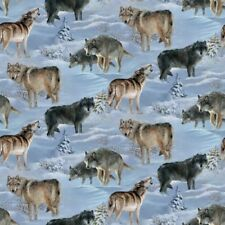 Wild Wings Silver Shadows Wolves in the Snow Wolf Cotton Fabric by the Yard