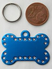 MEDAILLE GRAVEE CHIEN CHAT BLEU STRASS OS