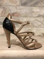 NIB Chanel 17C Beige Black Patent CC Strappy Buckle Sandal Heel Pump 37 $1000