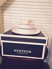 "STETSON ""TROPEZIEN"" FLORENTINE MILAN STRAW WHITE/STRIP SIZE 7 3/8  FEDORA !"