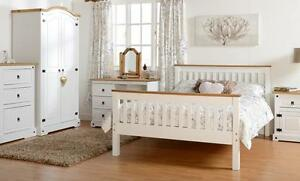 Corona WHITE and Waxed Pine Drawer Chest Bedside Wardrobe Dresser Stool