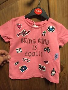 New Girls Minoti  Mid Pink T Shirt Badged Age 3-4