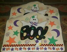 "Halloween Table Placemats Pair Barth & Dreyfuss Ghost Boo! 18"" x 14"" Vinyl"