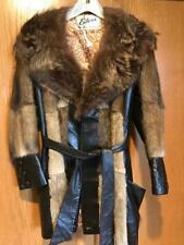 Eiler's 70's Vintage Muskrat fur coat, raccoon collar, leather accents and belt