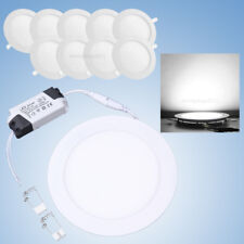 10Pcs 12W Round LED Recessed Ceiling Panel Down Lights Fixture Lamp Cool White
