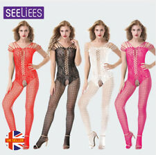 Womens Criss Burlesque Fishnet Lace Suspender Crotchless Bodystocking Tights