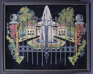 Paint by Number Painting on Velvet, Iron Gates with Fountain With Villa