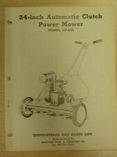 """WESTERN TOOL 24"""" REEL POWER MOWER, MECHANICAL CLUTCH PARTS MANUAL # LP - 430"""