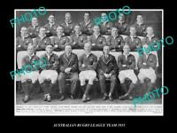 OLD 8x6 HISTORIC PHOTO OF 1935 AUSTRALIAN RUGBY LEAGUE TEAM DAVE BROWN capt