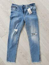 ZARA women denim high rise skinny jeans light blue ripped size UK 14