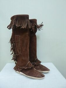 Vtg Handmade 8  Tall Suede Fringe Native Indian Rendezvous Mountain Man Boots