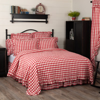 VHC Annie Buffalo RED Check Quilted Coverlet (Your Choice Size & Accessories)