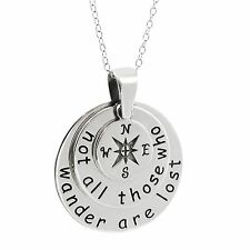 Compass Necklace - 925 Sterling Silver - Not All Who Wander Are Lost Pendant NEW