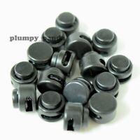"""Black Mini Buttom ( Hole = 1/16"""" ) Round Cordlock Cord Locks Toggles Stopper End"""