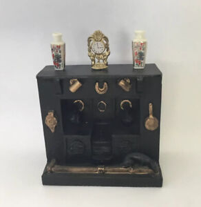 Dolls House Resin Fireplace With Ornaments