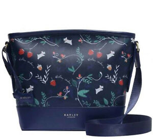 Radley Whimsical Floral Medium Ink Blue Cross-body Bag  Ziptop New