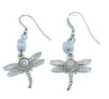Sterling Silver Blue Lace Agate Dragonfly Drop Earrings