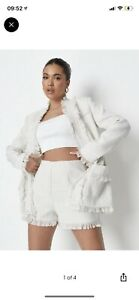 Missguided Cream Coord Boucle Tweed Blazer And Shorts Set. Zara River Island Plt