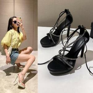 Womens Fashion Leather Diamante Ankle Wrap Platform High Heel Sandals Shoes DI