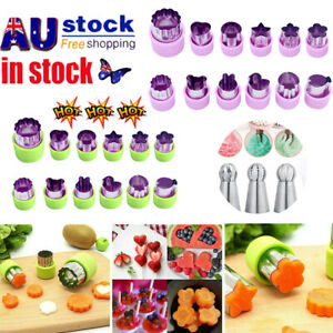 12Pcs Cookie Shape Cutter Mold Fruit Vegetable Stainless Steel Mould Food Mould@