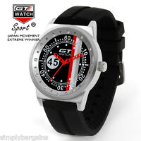 Men's Racing Analog Quartz Sports Round Black Red Watch - Japan Movement - US