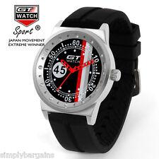 Men's Racing Analog Quartz Sports Round Black Red Watch - Japan Movement - US