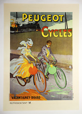 Peugeot Vintage Bicycle Poster - Cycling - Train - Lobel-Riche