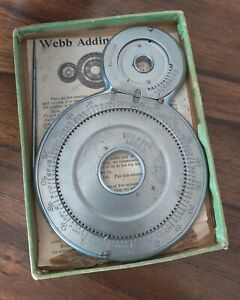 Antique Adding Machine The Webb Adder W/ Pointer Instructions & Box No Pat Date