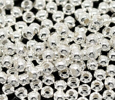 1000 Silver Plated Smooth Round Spacers Beads 3mm