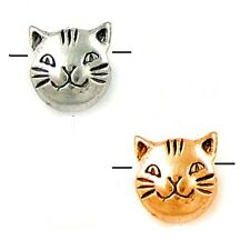 CAT FACE BEAD ANTIQUED SILVER PEWTER LARGE 10MM 4 KITTY BEADS PB53