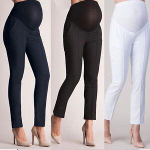 Womens Plain Trousers Pregnancy Maternity Belly Support Leggings Full Length UK