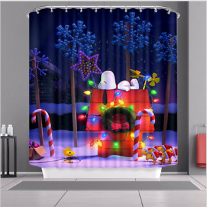 Colourful Waterproof Polyester Fabric Bathroom Shower Curtain Holiday Art Decor
