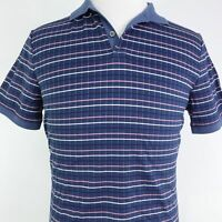 NEW BANANA REPUBLIC STANDARD FIT SHORT SLEEVE BLUE STRIPED POLO SHIRT MENS M NWT