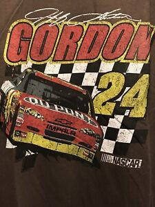 Jeff Gordon Racing T Shirt Mens Size Large NASCAR Tee New Old Stock NWT Brown