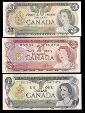 CANADA - 1 , 2 & 20 DOLLARS 1973-79 - aUNC