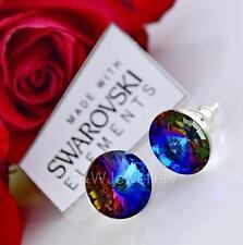925 SILVER STUD EARRINGS 12MM RIVOLI *MERIDIAN BLUE* CRYSTALS FROM SWAROVSKI®
