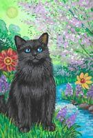 4X6 EASTER POSTCARD RYTA VINTAGE STYLE ART BLACK CAT EASTER LE 1/200 SPRING ART