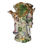 Retired Vintage Fitz & Floyd Classics Old World Rabbit Large Centerpiece Vase