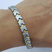 pour dames homme élégant TITANE Bio Magnétique Bracelet 5 en 1 argent/Or tsg1