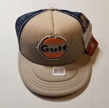 de1aaf87b64 Gulf Gas Cap Hat Beige Blue Orange Mesh Retro Design Snapback NWT  SHIPS  FAST