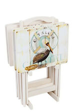 Shore Birds Folding Tray Tables - Set of 4 with Stand, Beautiful Seaside Design