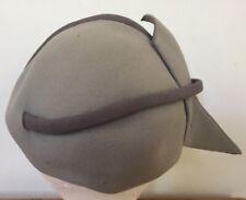Vintage 50s G Howard Hodge Mallory Two Tone Gray Fur Felt Bow Fascinator Hat