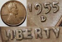 1955 D - LG BIE CUD - LINCOLN WHEAT CENT MINT ERROR #10630