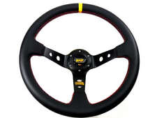"350mm Sport Rally 4"" Deep Dish Black Leather Red Stitch Car Steering Wheel"