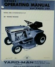 New listing Yard-Man 3400-2 Hydrostatic 8 h.p Lawn & Garden Tractor Owner & Parts Manual 24p