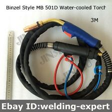 500A  MB 501D Mig Torch Gun 3 Meter Water Cooled with Euro Connector